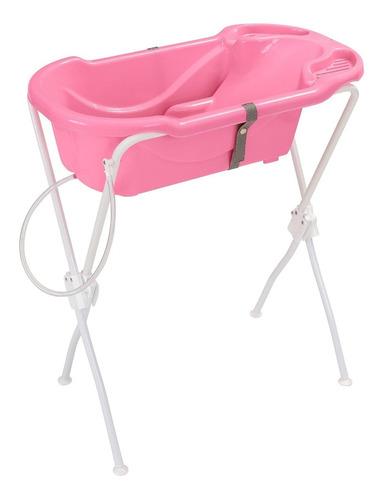 Banheira Bebê Infantil Suporte Rosa Ergonômica Tutti Baby