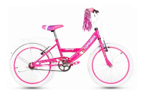 Bicicleta Femenina Infantil Topmega Kids Princess R20 Frenos V-brakes Color Rosa