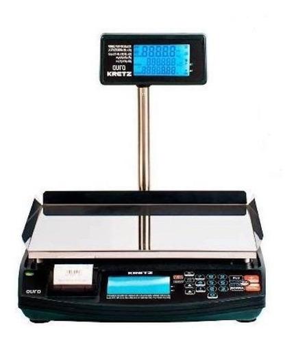 Balanza Comercial Digital Kretz Aura Eco 30kg Con Mástil 110v/240v Negro 250mm X 395mm