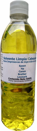 Solvente Limpia Cabezal Para Epson Hp Canon Brother 500ml