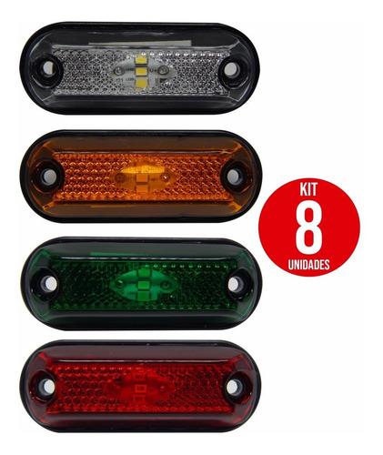 8x Lanterna Delimitadora Lateral Carreta Caminhão Baú 3leds