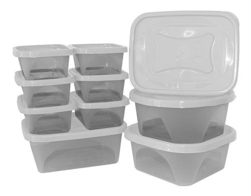 Conjunto Kit De 10 Potes Com Tampa Para Marmita E Alimentos