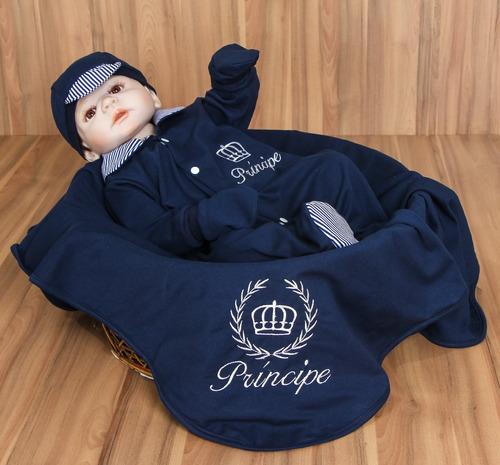 Bodie De Maternidade Bebê Menino Coroa Príncipe Azul Enxoval