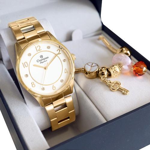 Relógio Champion Feminino Dourado Cn26000s + Kit Berloques