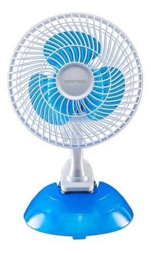 Ventilador De Mesa Ventisol Mini Branco Com 3 Pás Cor  Azul, 20cm De Diâmetro 127v