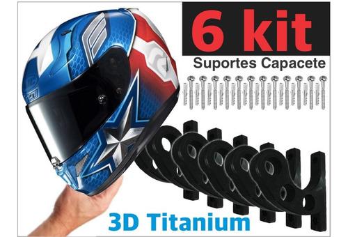 Kit 6 Suporte De Parede Para Pendurar Capacete E Acessórios