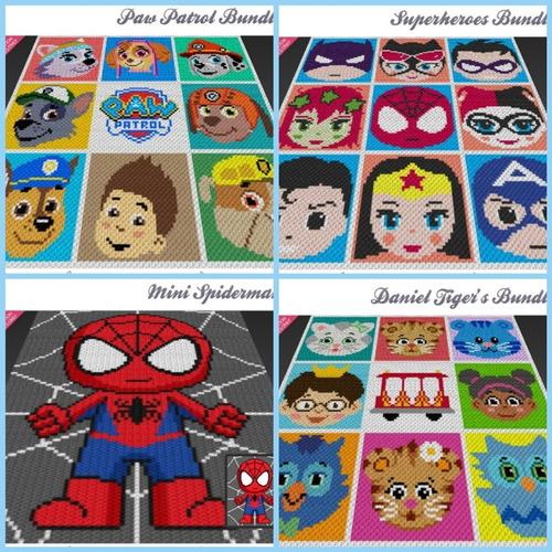 5 Patrones Mantas Pixeladas Crochet C2c