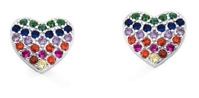 Zo5-brincos Coração Rainbow Prata 925 Zirconias Coloridas Ro