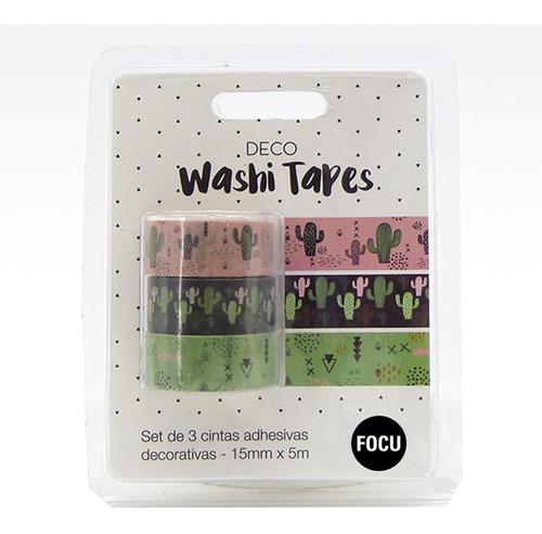 Washi Tape Papel Deco Cactus - 3 Cintas De 15mm X 5 Metros