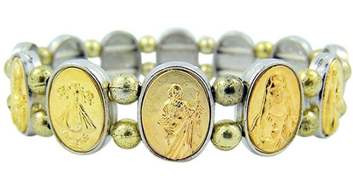 Oro Tono Patrón Santo Medalla Católica Bead Stretch Pulsera,