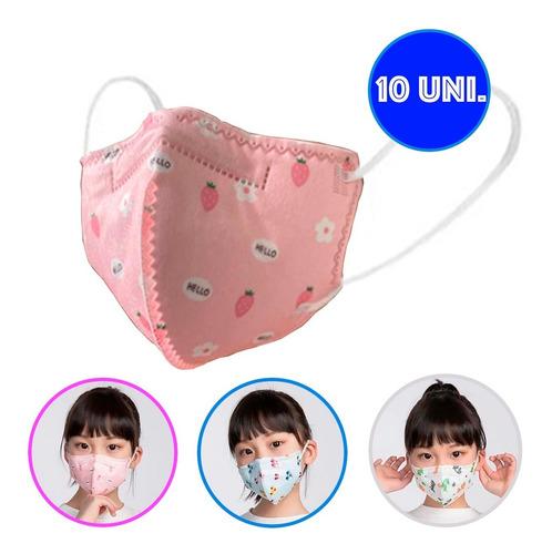 Kit Com 10 Mascara Infantil Kids Kn95 N95 Pff2 Estampada