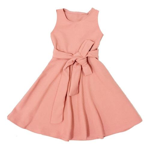 Vestido Infantil Rodado Regata Cinto Para Amarrar