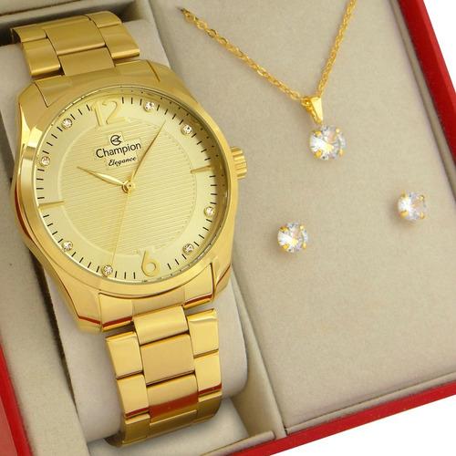 Relógio Champion Feminino Dourado Ouro Prova D'água Original