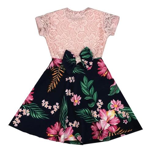 Vestido Infantil De Renda Moda Kids Laço Nas Costas Promoção