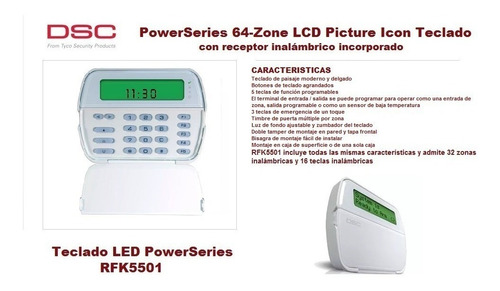 Teclado Lcd De Iconos 64 Zonas P/power Series Dsc Pk5501