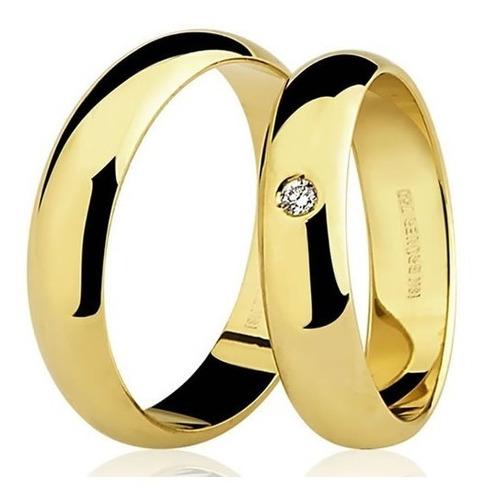 Par Aliança Ouro 18k 7mm 10grs Boleada Com 1 Diamante