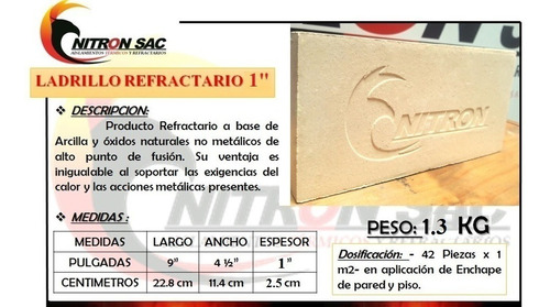 Ladrillo Refractario Nitron Grosor 1 Pulgada