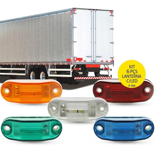6 Lanterna Delimitadora Led Caminhão Baú Ônibus Carreta