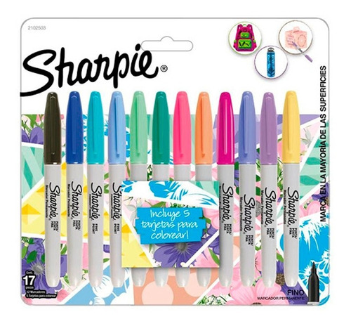 Marcadores Sharpie Set 17 Piezas Permanentes Tropical