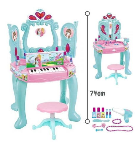Penteadeira Piano Teclado Infantil Sonho Princesa Sons Luzes