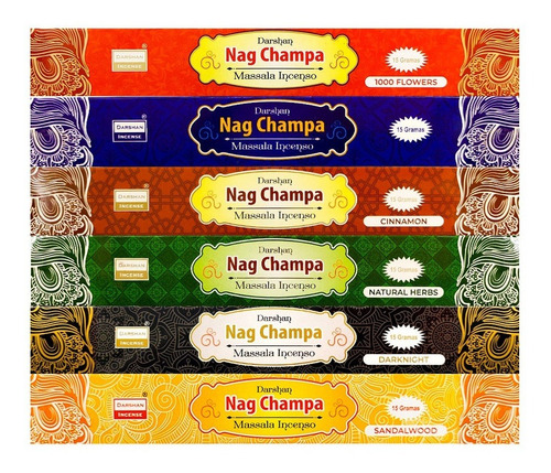 Incenso Massala Nag Champa Darshan Mix 6cx 15gr+ Frinde Full