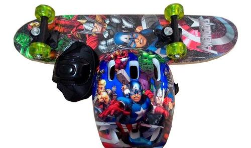 Skate Infantil Vingadores +  Kit Segurança Pronta Entrega