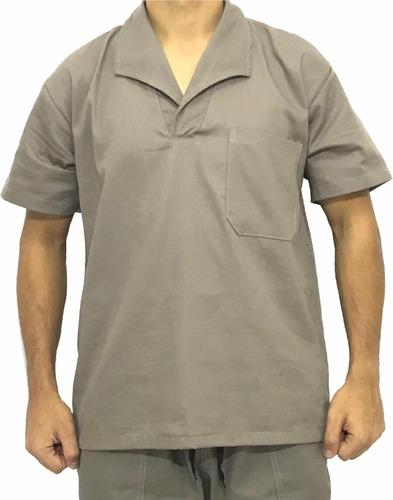 Camisa Jaleco Brim Manga Curta Uniforme Cinza