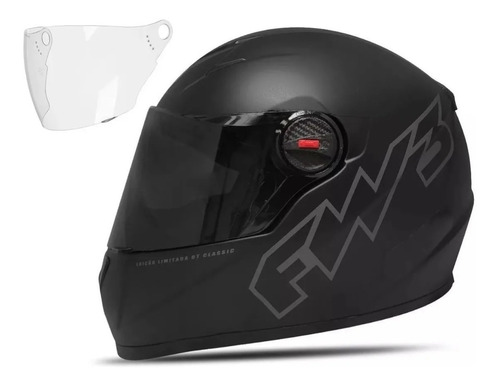 Capacete Moto Fechado Gtclassic Preto Fosco Fw3 Viseira 60