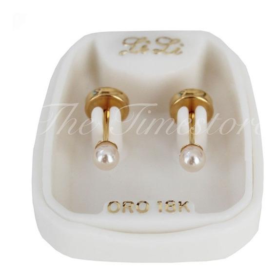 Aros Abridores Oro Lili 18k Perla 3mm Li-110c - Envio Gratis