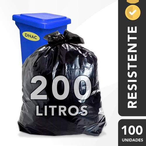 Saco De Lixo 200l Grosso Preto Reforçado Resistente - 100 Un