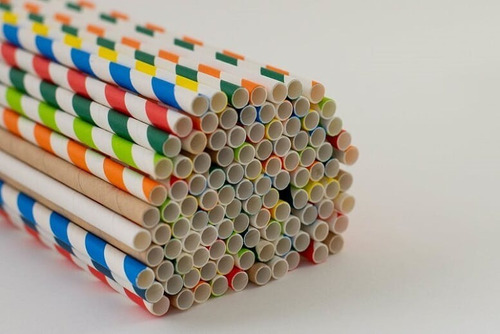 100 Canudos De Papel Biodegradáveis 6x197mm
