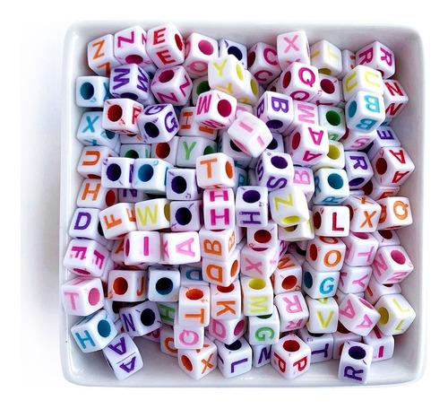 Miçanga Infantil Letras Coloridas Alfabeto Dado, 320 Pçs