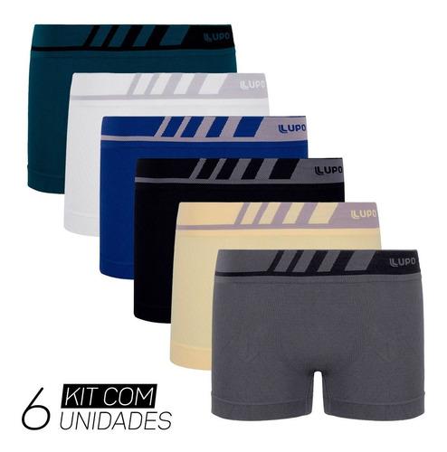 Kit 6 Cuecas Lupo Boxer Sem Costura Microfibra Infantil