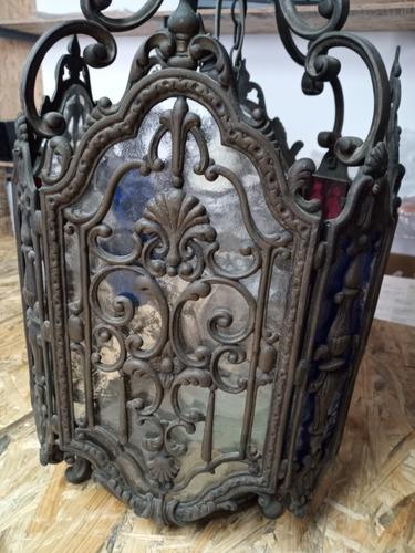 Antiguo Farol Colgante De Bronce