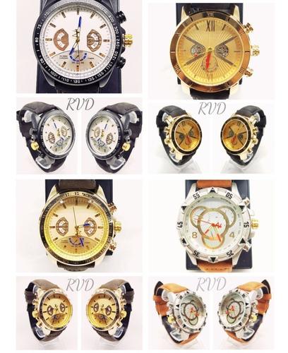 Kit C/ 05 Relógio Masculino De Couro + Caixa + Bateria Ext