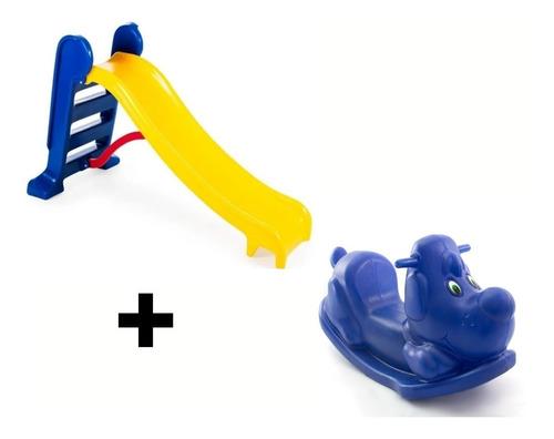 Escorregador Médio Infantil + Gangorra Colorida + Playground