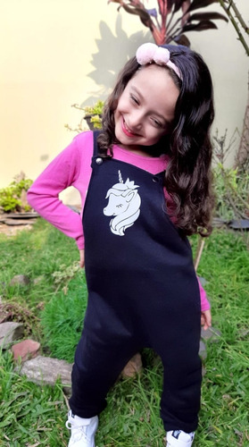 Jardinero Friza Algodon C/ Broches Bebesyniños Mod Unicornio