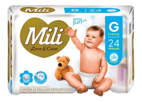 Fralda Infantil Mili Love Care Jumbo G 24 Unidades