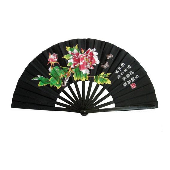 Abanico Negro C/flores, Varillas De Bambu