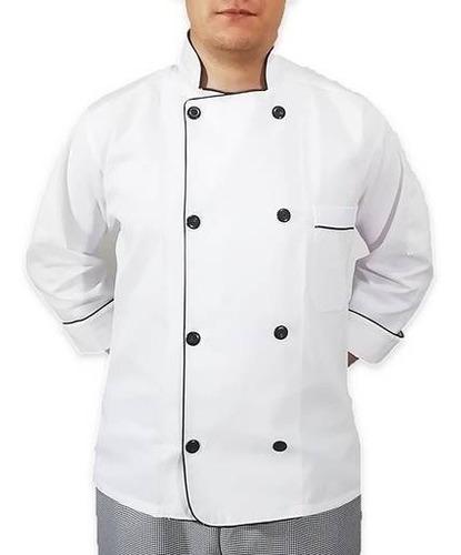 Filipina De Chef Blanca Gabardina 100% Algodón Manga 3/4