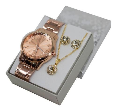 Relógio Feminino Dourado + Kit Joias Foliado + Caixa Luxuosa