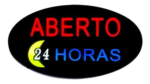 Placa De Led Aberto 24 Horas Letreiro Luminoso Open Neon