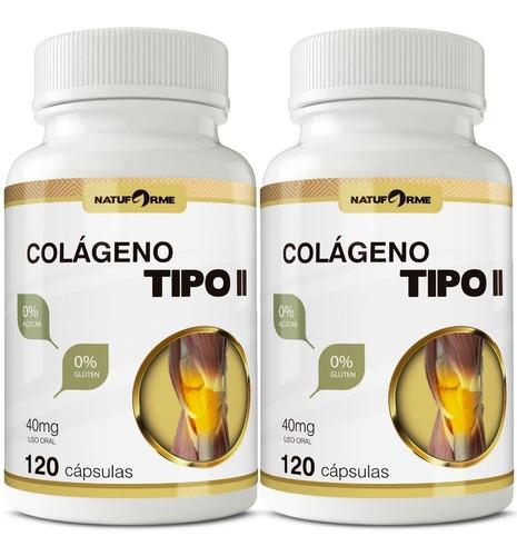 2 Potes Colágeno Tipo 2 Natural 120 Cápsulas De 40mg
