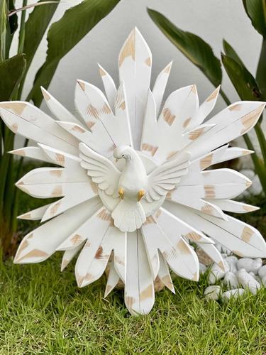 Divino Espírito Santo Madeira Parede 50cm - Branco