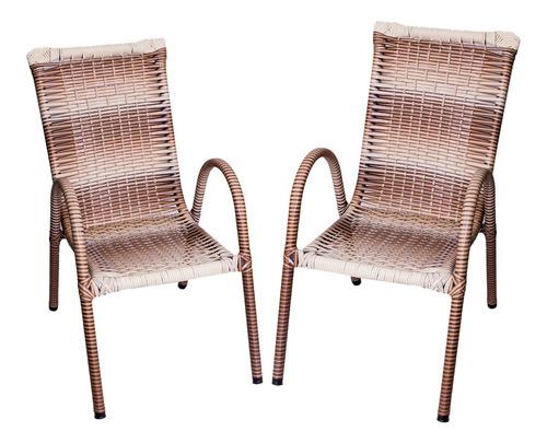 Kit 2 Cadeira Poltrona Em Junco Sintética E Aço P/ Varanda