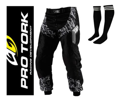 Calça Insane Pro Tork Motocross Trilha Enduro Black Meião