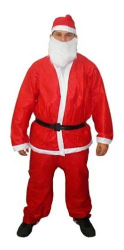 Fantasia Roupa Papai Noel 5 Peças Completa Natal Natalino
