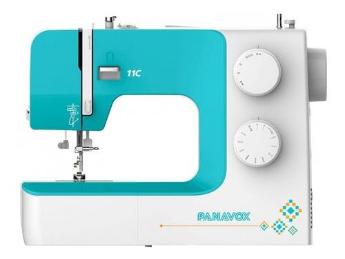 Máquina De Coser Recta Panavox 11c Portable Blanca Y Aguamarina