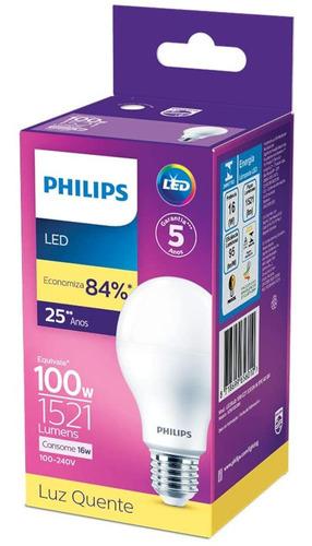 Lâmpada Led Philips 16w Bivolt Luz Amarela 3000k Base E27