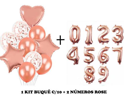 Kit Buque Baloes Rose Gold C/10 + 2 Balão Número Rose 40cm